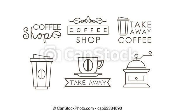 koffiekop, iconen, set, etiketten, grinder, illustratie, vector, achtergrond, takeaway, lijn, witte , kentekens - csp63334890
