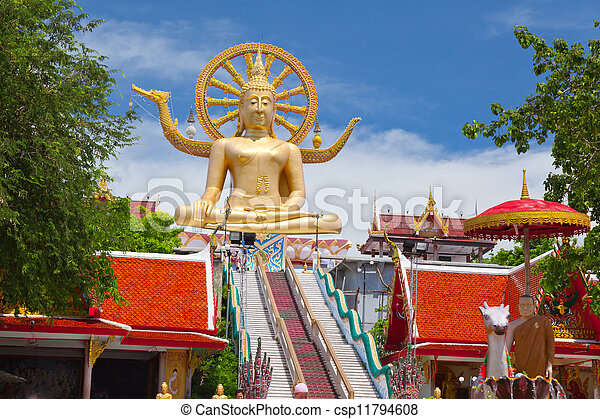 koh, buda grande, estatua, tailandia, samui - csp11794608
