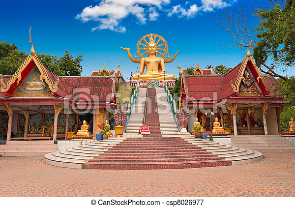 koh samui, isla, buddha, estatua, grande - csp8026977