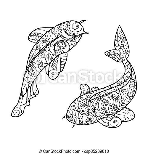Koi Carp Fish Coloring Book For Adults Vector