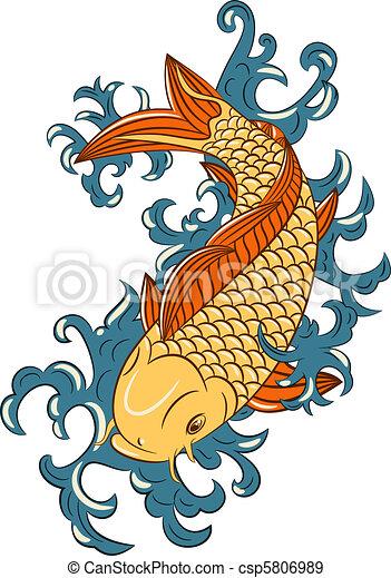 Estilo japonés koi (carpa pez) - csp5806989