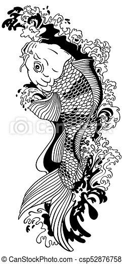 Koi Fish Black White