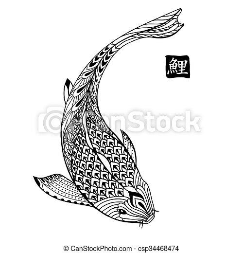 Dessin Carpe Japonaise koi, fish., coloration, carpe, japonaise, main, livre, dessiné