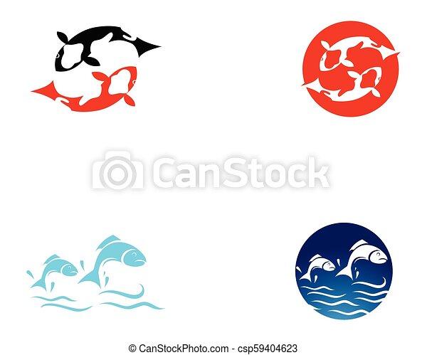 Koi fish logo and symbols vector template icons. Koi fish logo and ...