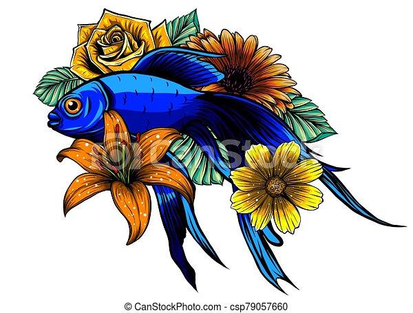 Koi Fish Tattoo Vector Illustration Design Art Koi Fish Tattoo Illustration Design