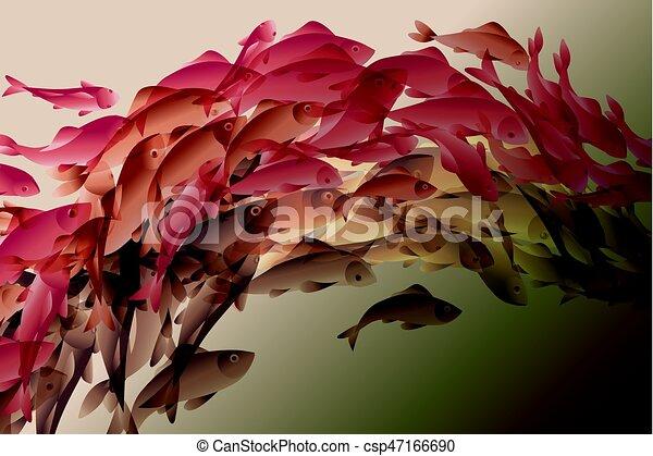 Koi Natural Color Pez Ilustración Elegante Vector