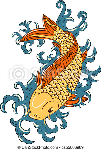 Dessin Japonais Carpe Koi koi, style, (carp, japonaise, fish) koi, style, fish), japonaise