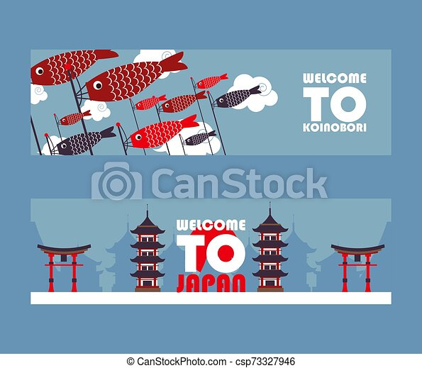 Estandartes de gira de Japón, ilustración vectorial. Símbolos de la cultura asiática, monumentos turísticos populares. Pagoda, puerta torii y gaviotas koinobori. El concepto de publicidad de la agencia de viajes - csp73327946