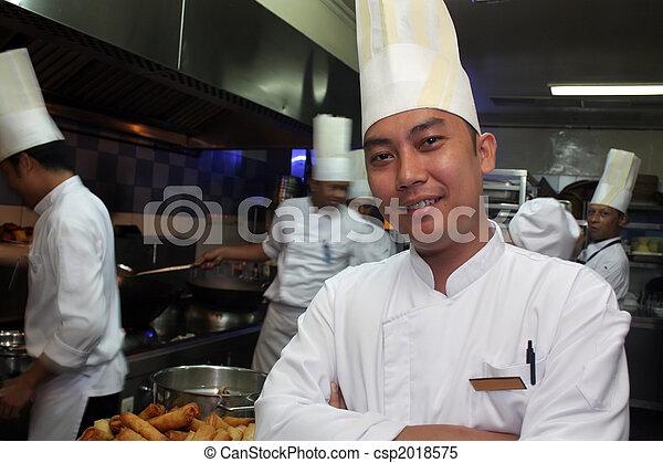 kok, het glimlachen, werken - csp2018575