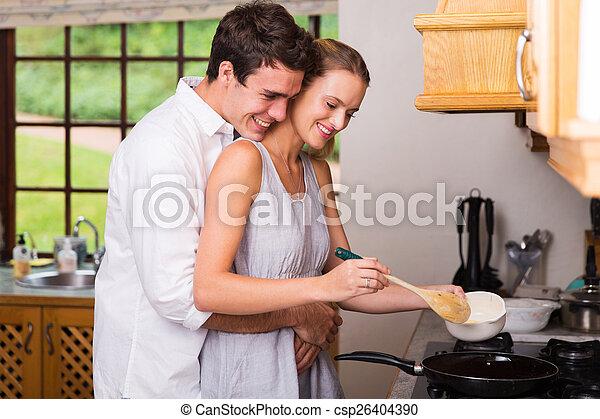 koki, młody, tulenie, znowu, ona, sympatia, śniadanie, człowiek - csp26404390