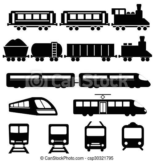 kolejowy pociąg, przewóz, ikony - csp30321795