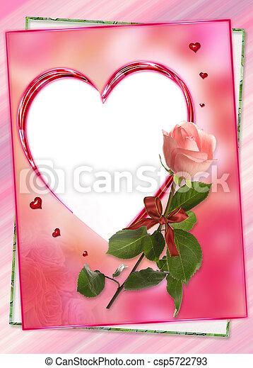 kollázs, szív, keret, virág, rózsa - csp5722793