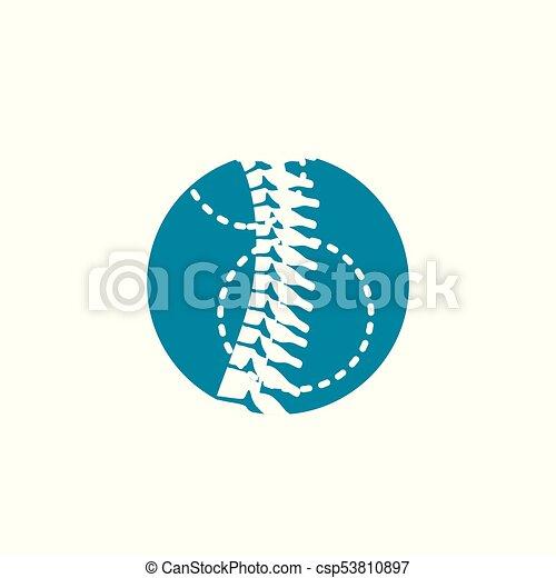 kolonn, ryggrads, ortopedisk, w, cirkel, ikon - csp53810897