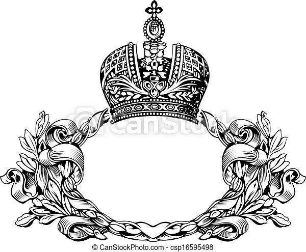 kolor, królewska korona, krzywe, jeden, elegancki, retro - csp16595498