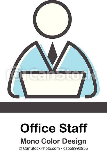 kolor, mono, biuro, ilustracja, personel - csp59992955
