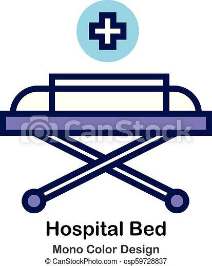 kolor, mono, szpitalniane łóżko, ikona - csp59728837