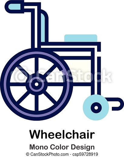 kolor, mono, wheelchair, ikona - csp59728919
