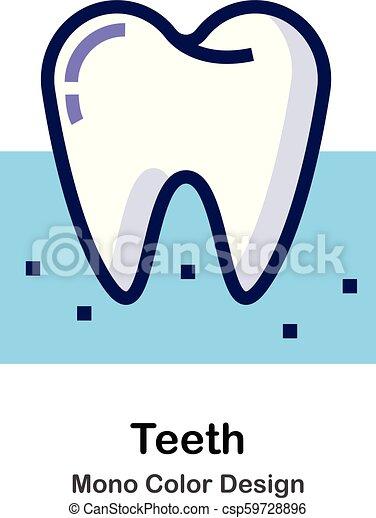 kolor, mono, zęby, ikona - csp59728896