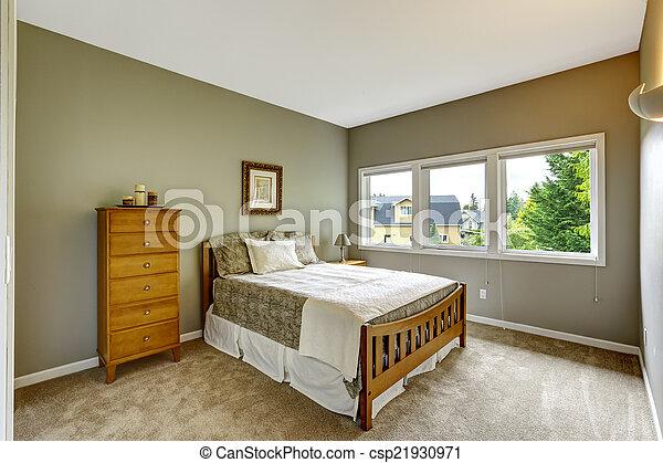 Kolor Szary Drewniany Sypialnia Wewnętrzny Meble