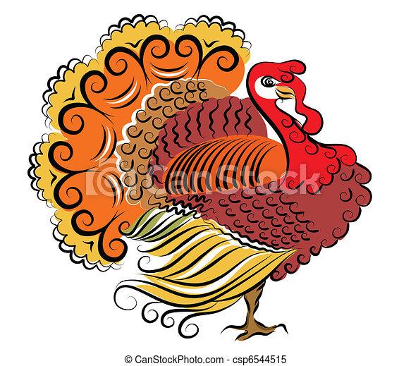 kolor, turkey.vector, dziękczynienie, dzień - csp6544515