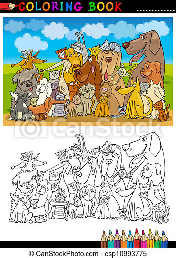 kolorit, hundkapplöpning, bok, tecknad film, eller, sida - csp10993775