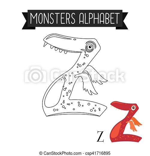 Kolorowanie Alfabet Strona Litera Z Potwory Kolorowanie