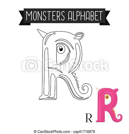 Kolorowanie Alfabet Strona R Litera Potwory Wektor