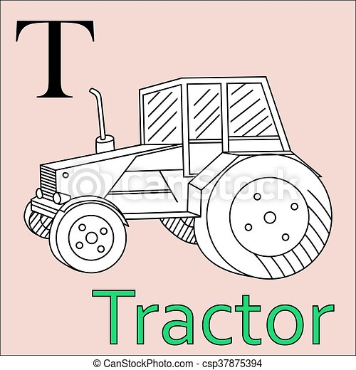 Kolorowanie Alphabet Wektor T Letter Książka Traktor Piękny