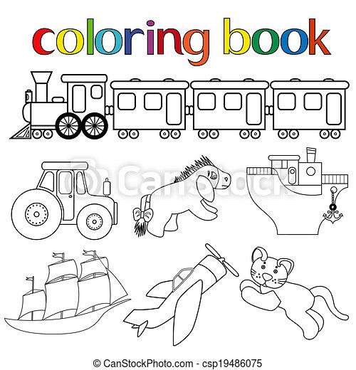 Kolorowanie Różny Komplet Książka Zabawki Wektor Kolorowanie