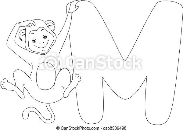 kolorowanie, strona, małpa - csp8309498