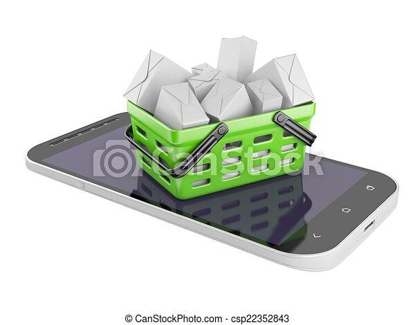 komórka głoska, kabiny, shopping kosz - csp22352843