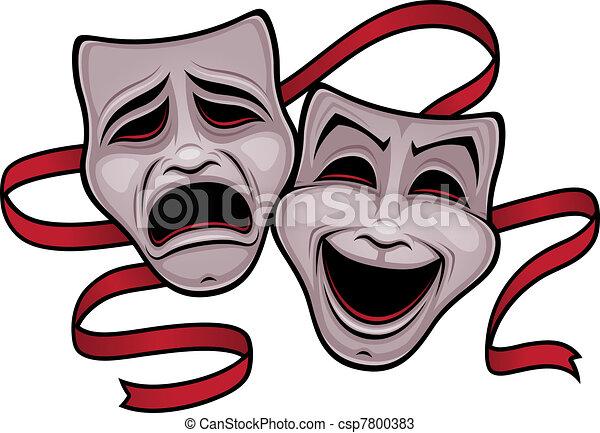 komödie, theater, tragödienmasken - csp7800383