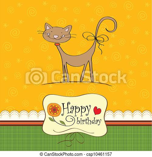 komický, narozeniny karta, kočka - csp10461157