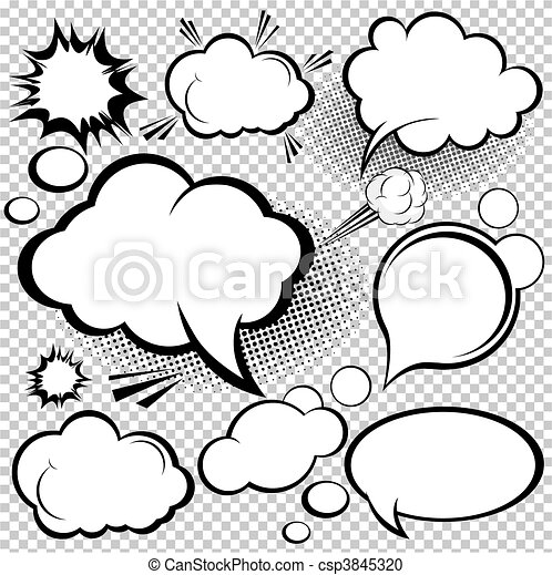 komik, mowa, bańki - csp3845320