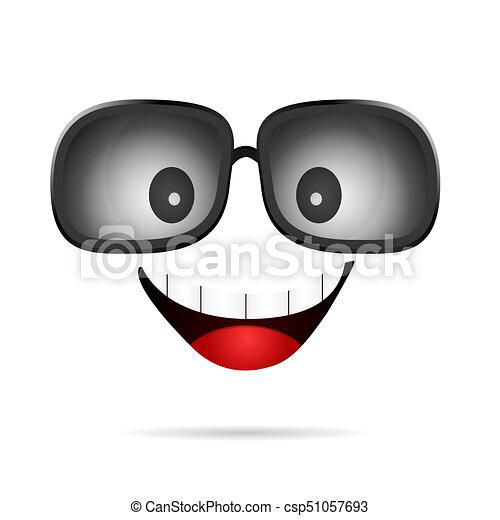 olik, smiley, solglasögon, illustration, ansikte