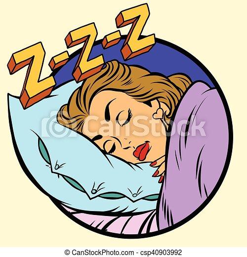 Komisk, pige, seng, sov. Kunst, illustration, sov, affyre,... eps ...