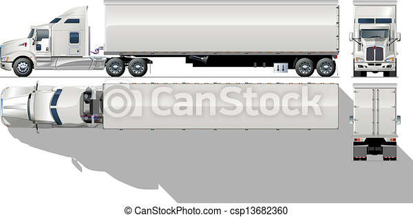 kommersiell, hi-detailed, semi-truck - csp13682360