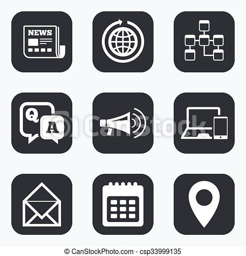 kommunikation, meddelanden, icons., nyheterna, pratstund, signs. - csp33999135