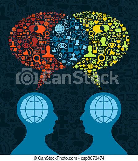 kommunikation, social, hjärna, media - csp8073474