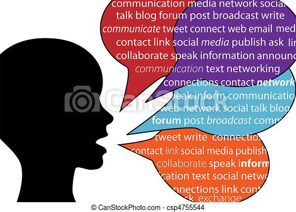 kommunikation, sociale, person, tale, gloser, tekst - csp4755544