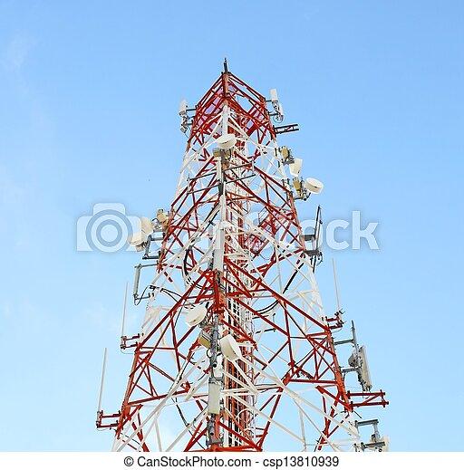 kommunikation, weißer turm, rotes  - csp13810939