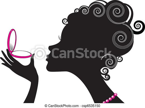 kompakt, kvinde, .make, magt, cosmetic., oppe, portræt - csp6535150