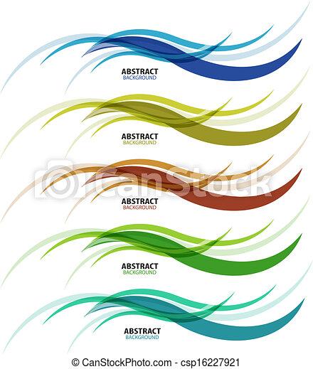 komplet, barwny, handlowy, abstrakcyjny, machać, tło, kreska - csp16227921