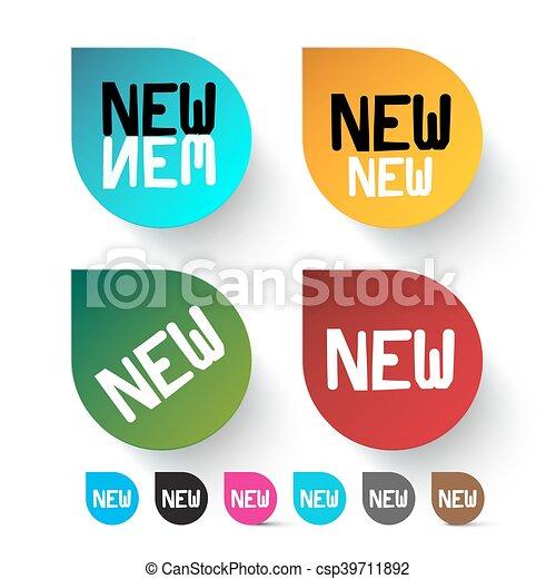 komplet, barwny, ikony, etykiety, -, wektor, nowy - csp39711892