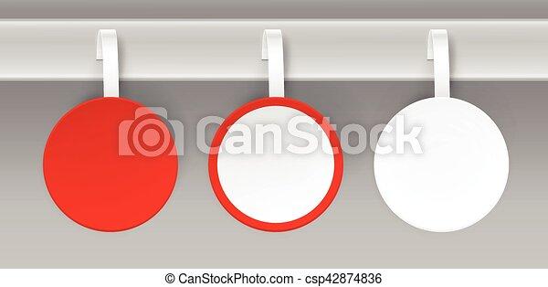 komplet, cena, plastyk, papier, czysty, wobbler, biały czerwony - csp42874836