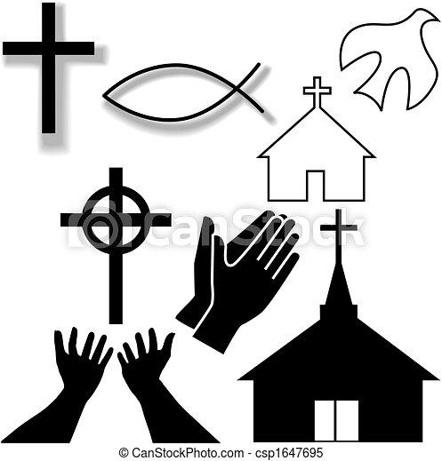 komplet, chrześcijanin, ikony, symbol, inny, kościół - csp1647695