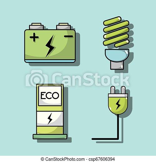 komplet, elektryczny, bateria, wóz, energia, technologia, recharge - csp67606394
