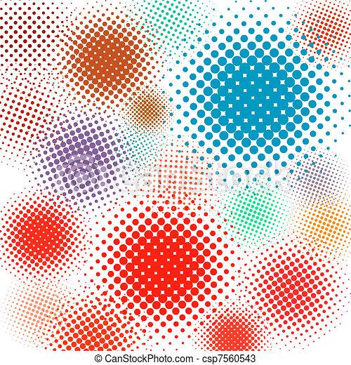 komplet, eps, ilustracja, halftone, tło., wektor, 8 - csp7560543