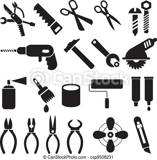 komplet, ikony, praca, -, wektor, narzędzia - csp9508231