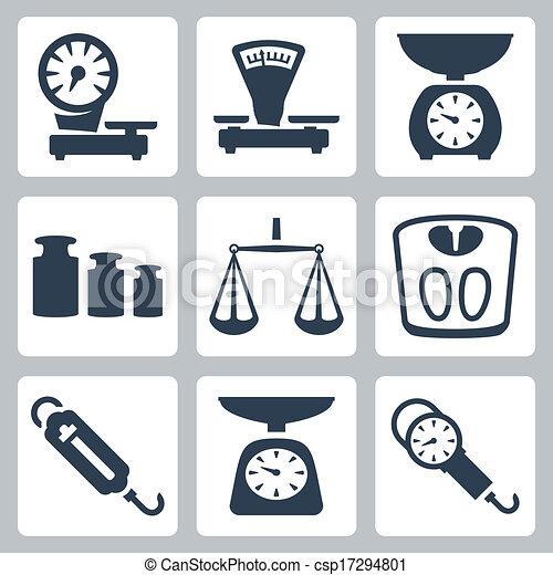 komplet, ikony, skalpy, odizolowany, wektor, waga - csp17294801